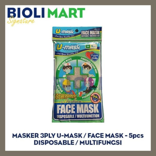 Foto Produk MASKER 3PLY EARLOOP U-MASK | DISPOSABLE - 5pcs dari Bioli Signature