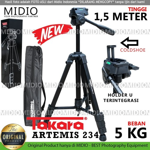Foto Produk TRIPOD Takara Artemis 234 Plus HOLDER U Handphone With Fluid Head dari Midio