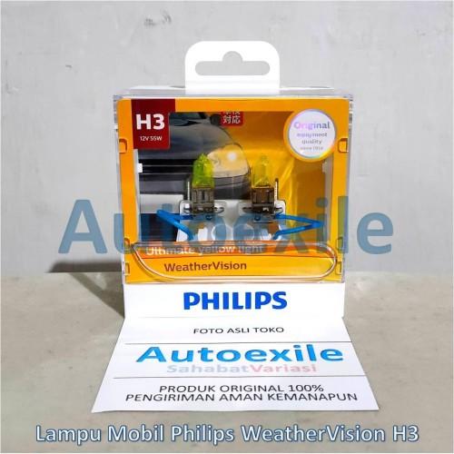Foto Produk Philips New Weather Vision H3 12V 55W 2900K (Lampu Depan Kuning Mobil) dari Autoexile