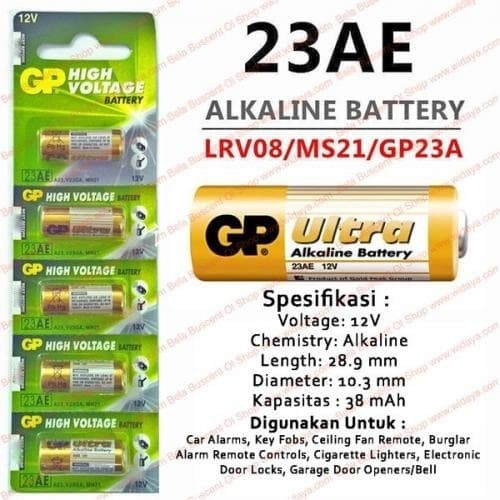 Foto Produk Baterai GP Ultra Super Alkaline GP 23AE 23 A23 V23GA MN21 12V Battery dari KortingStore
