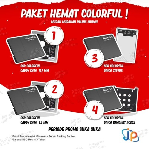 Foto Produk Paket SSD Colorful 120GB Sata3+ Caddy Laptop/ Bracket/ Enclosure Orico - Caddy 12.7 dari Jaya PC