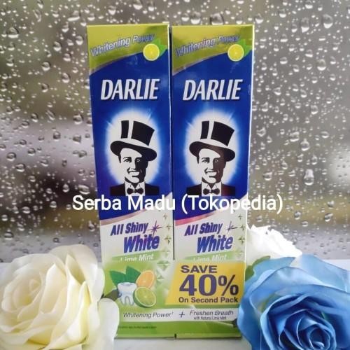 Foto Produk Darlie All Shiny White Lime Mint/ Pasta Gigi/ Odol Twin Pack 140 gram dari Serba Madu