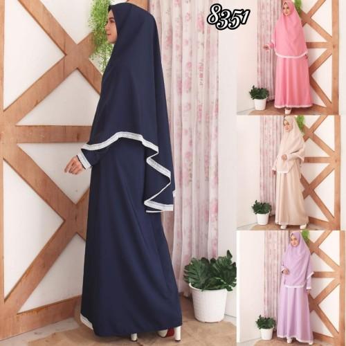Foto Produk Baju Gamis Syari Syar'i Set Baju Gamis Wanita 8351 - Navy dari Hitjab & Co