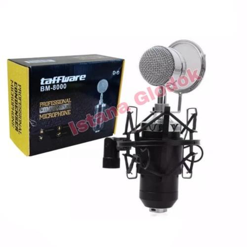 Foto Produk Mic Microphone Condenser Taffware BM8000 Stand Holder Mik Smule - Silver dari Istana Glodok