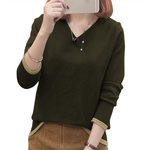 Foto Produk Sweater Rajut Tangan Panjang gaya Korea Leher V - JFashion Vini - Cokelat dari j--fashion