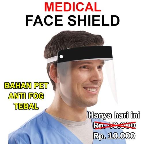 Foto Produk FACE SHIELD MEDIS tebal pelindung wajah faceshield anti fog dewasa APD dari Casing handphone murah