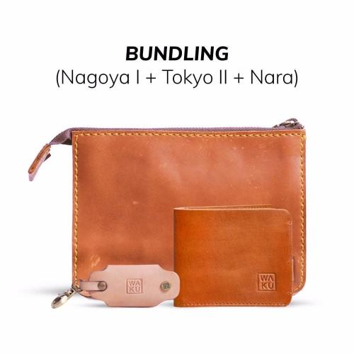 Foto Produk [BUNDLING] WAKU 3 in 1 Handbag Dompet Gantungan Kunci Kulit Asli dari WAKU Indonesia