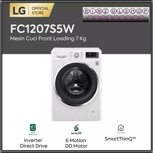 Foto Produk FC1207S5W LG MESIN CUCI FRONT LOADING 7KG SMART THINQ INVERTER NEW dari rinz olshop