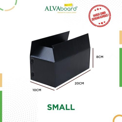 Foto Produk KARDUS PLASTIK ALVAboard, KOTAK PENGIRIMAN, BOX PINDAHAN 20X10X8 CM - Hitam dari ALVAboard