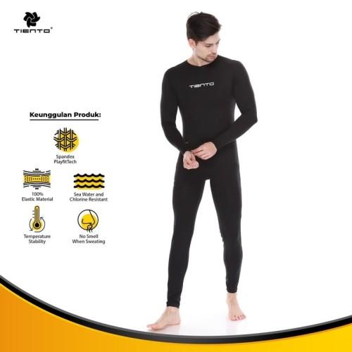Foto Produk Tiento Wetsuit Basic Black Swimwear Baju Celana Pakaian Renang Diving - XS dari TIENTO
