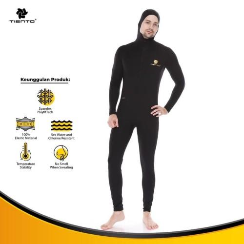 Foto Produk Tiento Wetsuit Hoodie Black Swimwear Pakaian Renang Diving Pria - Hitam, XS dari TIENTO