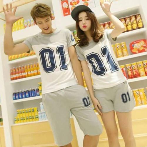 Foto Produk SETELAN COUPLE KOMBINASI 2 WARNA I SETELAN KAOS COUPLE - Putih dari zuzue fashion