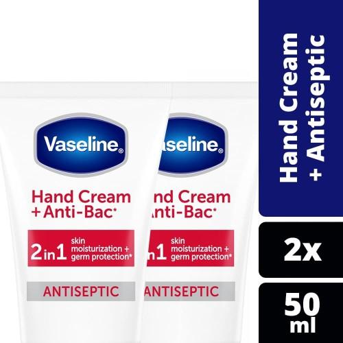Foto Produk Vaseline Hand Cream Anti Bacterial 50Ml Twin Pack dari Unilever Official Store