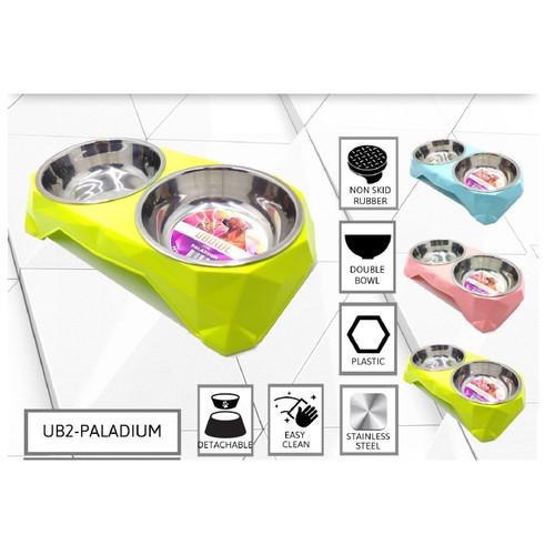 Foto Produk Pet double bowl mangkok tempat makan minum anjing - Paladium, Biru dari AvelineShop