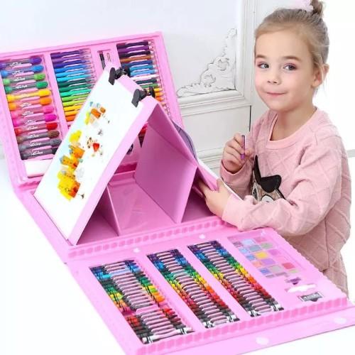 Foto Produk Mainan Anak Set Spidol CRAYON 208pcs Untuk Melukis/Mewarna - Biru dari lovely kayy