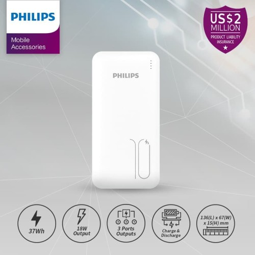 Foto Produk PHILIPS DLP 6812C PowerBank 10,000mAh 18W PD-QC Original - White dari Philips Mobile Acc