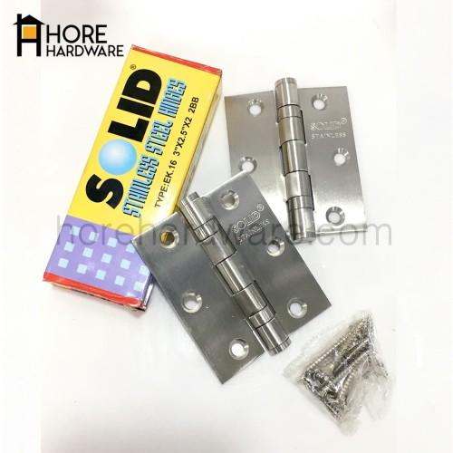 "Foto Produk SOLID Engsel EK16 3"" x 2.5"" x 2mm 2BB Hinge Jendela Stainless Steel dari HORE Hardware"