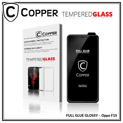 Foto Produk Oppo F1s - COPPER Tempered Glass FULL GLUE PREMIUM GLOSSY - LIST BLACK dari Copper Indonesia