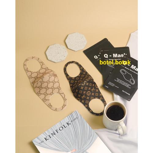 Foto Produk Qmask masker serat bambu motif - LV coklat dari botolbotak