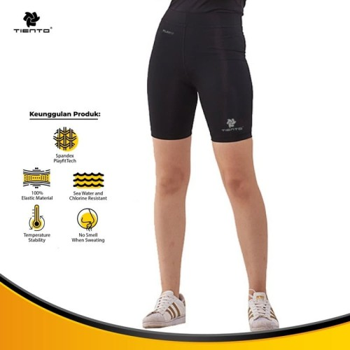 Foto Produk Tiento Celana Legging Leging Sport Women Short Pants Black Silver - Hitam, XL dari TIENTO