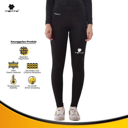 Foto Produk Tiento Celana Legging Olahraga Wanita Long Pants Cewek Black White - S dari TIENTO