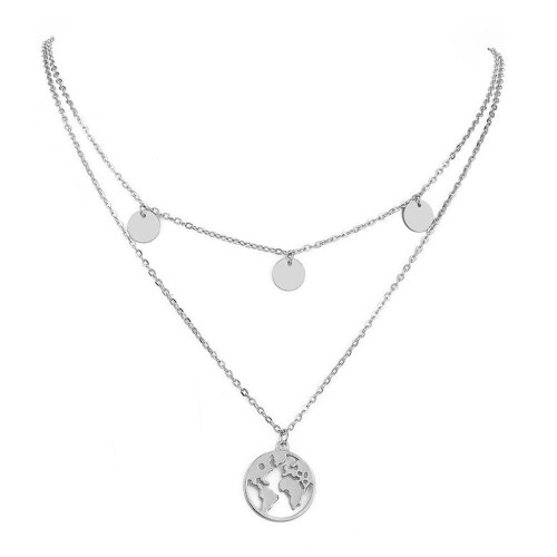 Foto Produk Kalung Round World Map Silver Pendant Necklace dari ChanMoochie