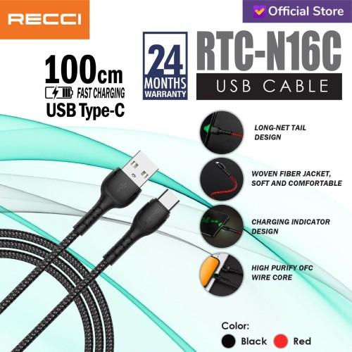 Foto Produk Recci Usb Cable 100CM / RCT-N16C / TYPE-C / Merah/Hitam - Hitam dari Recci Official Shop ID