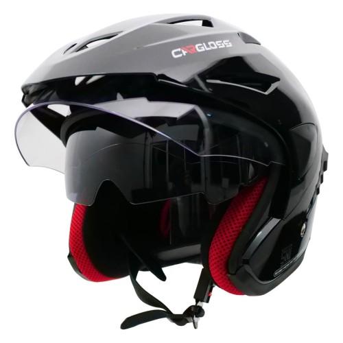 Foto Produk Helm Cargloss CDV CR Helm Half Face Double Visor - Deep Black - L dari Helm Cargloss