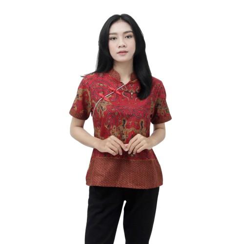 Foto Produk Blouse Batik Wanita Atasan Batik Modern Model Mandarin Size S - 5L BIG - S dari BATIK DUA PUTRI