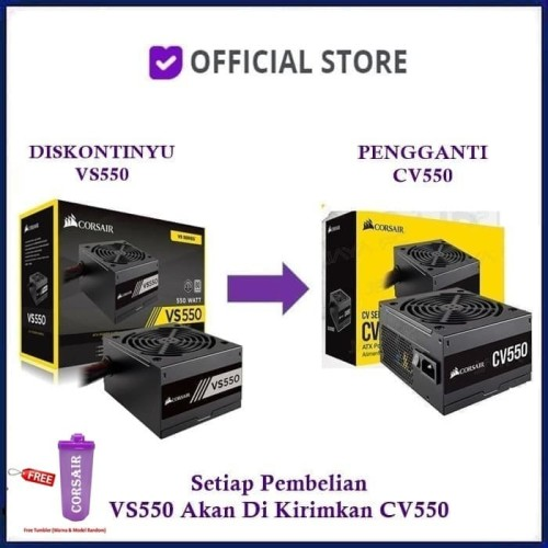 Foto Produk Corsair VS550 ATX Power Supply 550 WATT 80 PLUS White Certified PSU - Black dari DUNIA COMPUTER & SERVICE