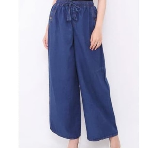 Foto Produk celana kulot jeans dewasa / celana panjang - biru tua dari nolanoli