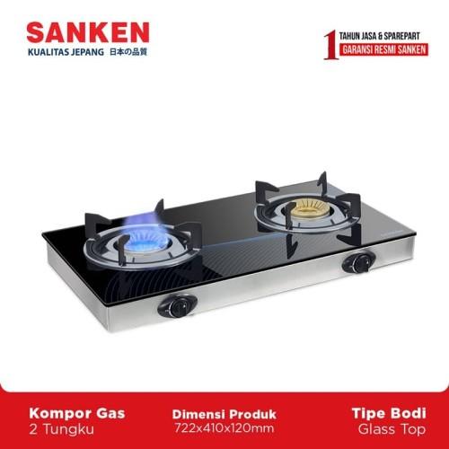 Foto Produk Sanken SG-363 Kompor Gas 2 Tungku Kaca Kompor Dua Tungku dari Sanken Official Store