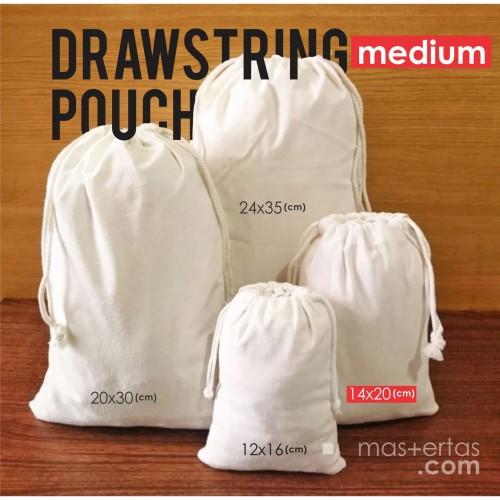 Foto Produk drawstring pouch, tas serut, blacu/polos, murah/readystok, serba guna dari Dokterkaos.Net