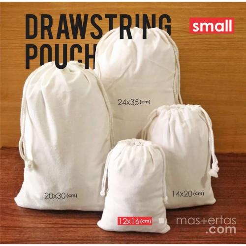Foto Produk tas serut kecil, tas serut polos murah, ready stok, tas serut blacu dari Dokterkaos.Net