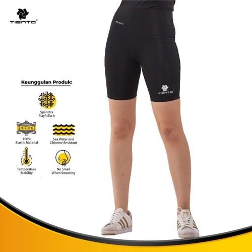 Foto Produk Baselayer Legging Olahraga Tiento Short Pants Black White Original - S dari TIENTO