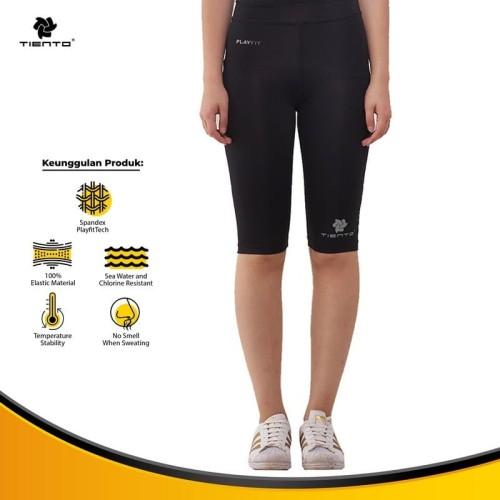 Foto Produk Tiento Legging Leging Celana Olahraga Half Pants Black Silver Original - XL dari TIENTO