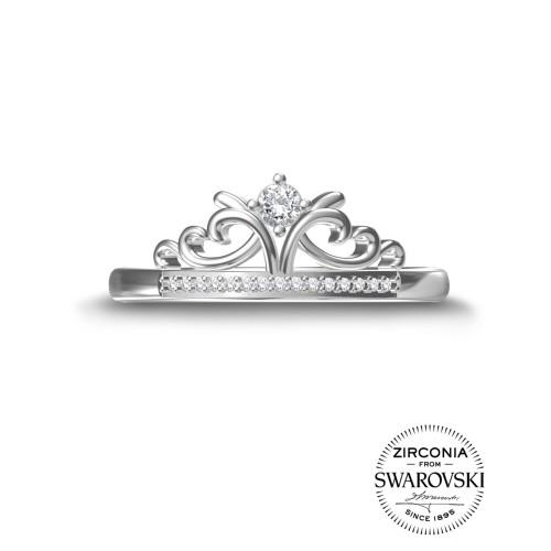 Foto Produk Aurora Italia Cincin Swarovski Zirconia Princess Tiara- 18K Emas Putih - 14 dari Aurora Italia Official