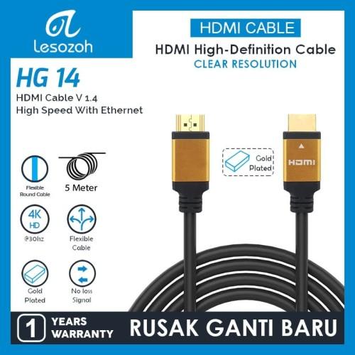 Foto Produk KABEL HDMI TO HDMI HIGH QUALITY with Ethernet 5 M LESOZOH HG14GP-50 dari Supermassive Indonesia
