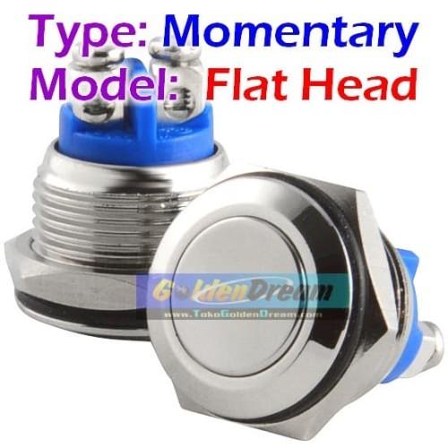 Foto Produk Stainless Push On Momentary Button Flat Head Metal Switch dari Golden Dream