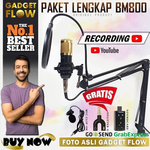 Foto Produk Microphone Mic Kondenser BM 800 PAKET RECORDING / Stand + Pop Filter dari Gadget Flow