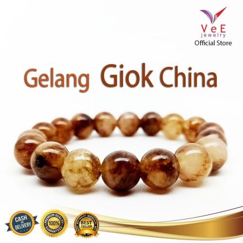 Foto Produk Gelang Batu Giok China Coklat Kembang 10mm - VeE Gelang Kesehatan dari Vee Jewelry