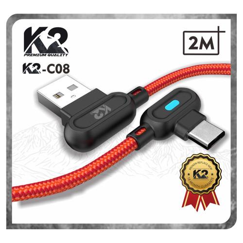 Foto Produk Kabel Data GAMING LED 2M K2-C08 K2 PREMIUM QUALITY TYPE C Fast Chargi - Merah dari K2 Official Store