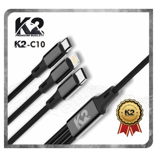 Foto Produk Kabel Data 3IN1 K2-C10 K2 PREMIUM QUALITY 3A Micro + Type C + IPHONE dari K2 Official Store