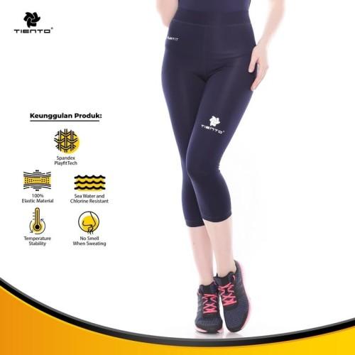 Foto Produk Tiento Baselayer Celana Ketat Legging Leging 3/4 Pants Navy White Ori - Navy, L dari TIENTO