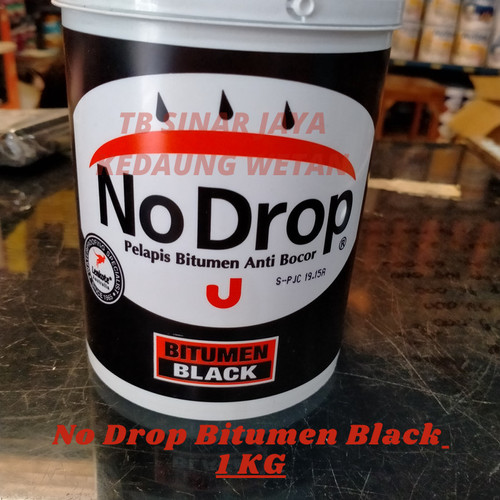 Foto Produk Cat Pelapis No Drop BITUMEN BLACK 1 Kg Nodrop Anti Bocor - WATERPROOF- dari TBSinarJayaKedaungWetan
