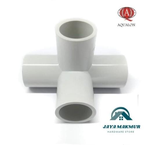 Foto Produk Fitting PVC Tee uk. 1 inch 4 way 90 derajat untuk hidroponik dari Jaya Makmur Hardware