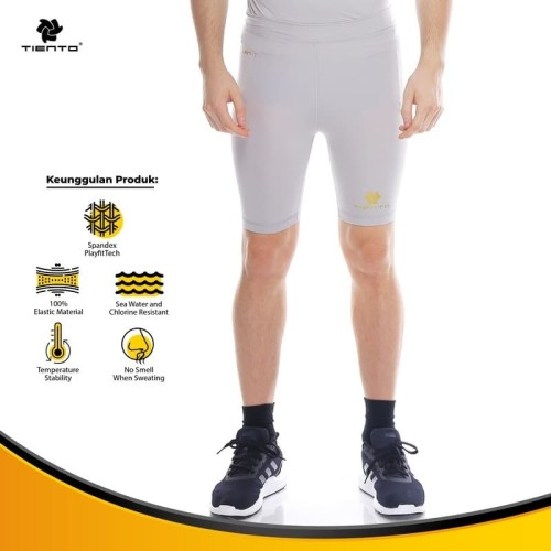 Foto Produk Tiento Baselayer Rashguard Compression Short Pants Grey Gold Original - L dari TIENTO