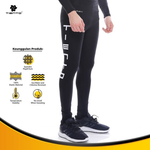 Foto Produk Tiento Manset Rashguard Compression Long Pants Typotype Black Original - XS dari TIENTO