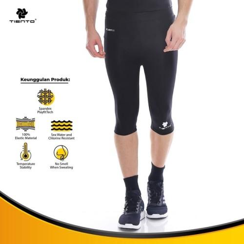 Foto Produk Baselayer Manset Tiento Half Pants Black White Original - XS dari TIENTO