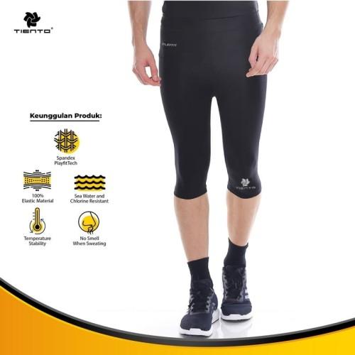 Foto Produk Baselayer Manset Tiento Half Pants Black Silver Original - S dari TIENTO